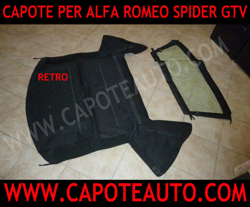 capote cappotta cappottina capota alfa romeo gtv spider 919 tessuto stayfast nero rosso bordeaux blu con lunotto