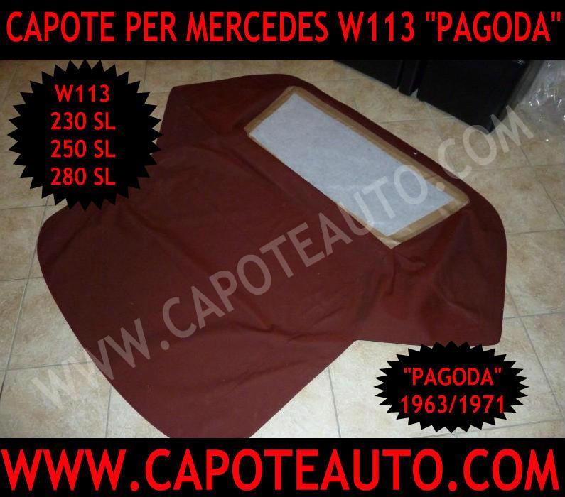 capote cappotta cappottina capota mercedes pagoda 113 w r c 230 sl 250 sl 280 sl vendo tessuto rosso rossa